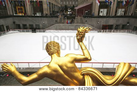 Statue of Prometheus and ice-skating rink at the Lower Plaza of Rockefeller Center