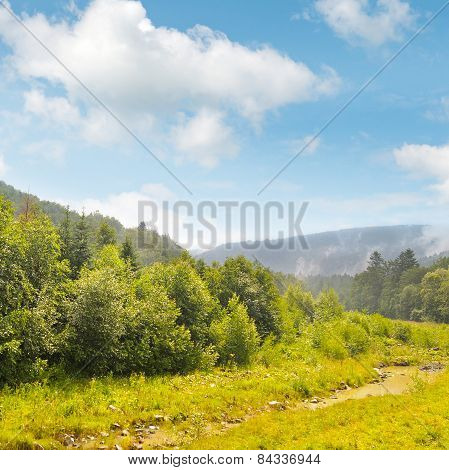 Picturesque Mountain Valley And Creek