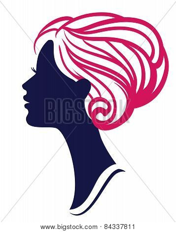 Beautiful Womanl Silhouette With Stylish Hairstyle