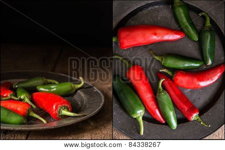 Compilation Of Red And Green Peppers Images With Moody Vintage Retro Natural Lighting