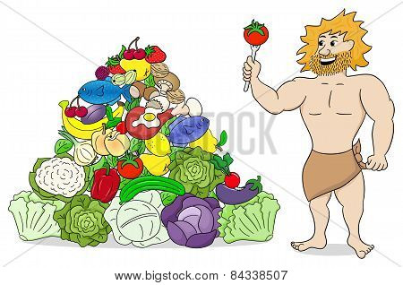 Caveman With Paleo Food Pyramid