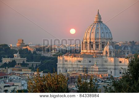 The St. Peter's Basilica At Sunset View From The Janiculum Hill - Rome