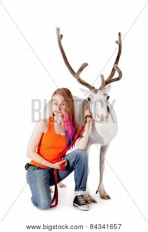 Lapland Girl With White Caribou