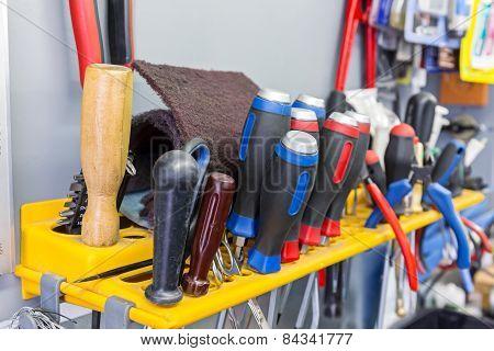 Screwdrivers Hanging On Tool Panel