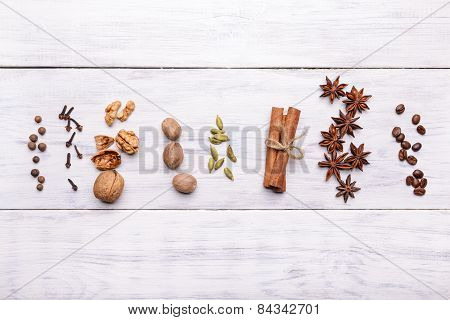 Spices For Mulled Wine Glintwine On Wooden Background