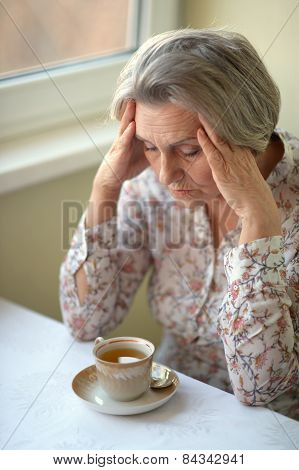 sad old woman