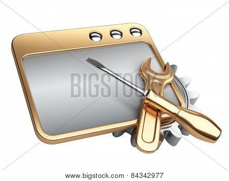 Dialog Window With Gold Gear Wheel And Screwdriver