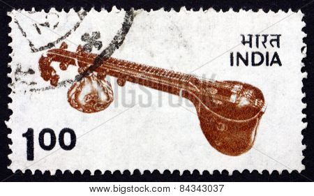Postage Stamp India 1974 Veena, Plucket Stringed Instrument