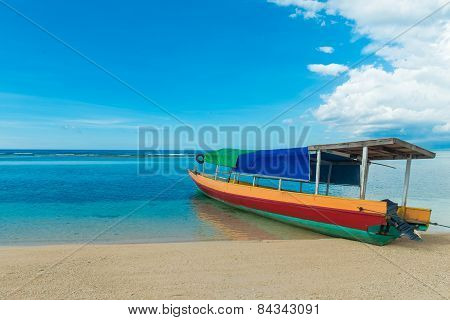Traditional indonesian fisherman boat