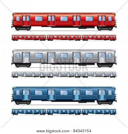 Subway Train Set Isolated On White Vector
