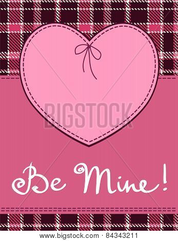Heart In Stitched Textile Style. Vector Pink Heart Textile Label