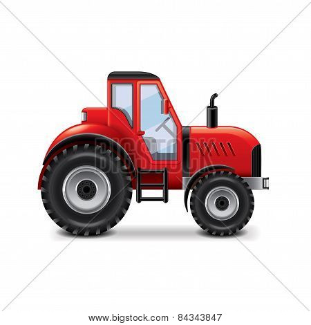 Tractor Isolated On White Vector