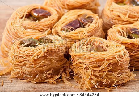 Eastern dessert baklawa with pistachio nuts