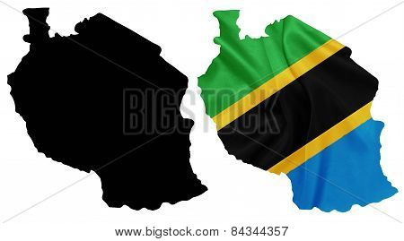 Tanzania - Waving national flag on map contour with silk texture