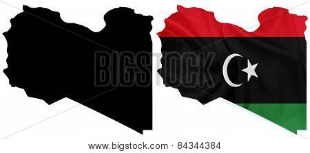 Libya - Waving national flag on map contour with silk texture