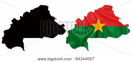 Burkina Faso - Waving national flag on map contour with silk texture