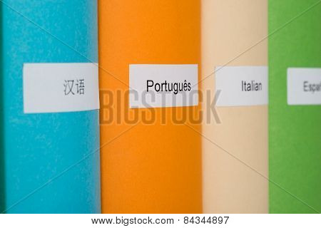 Different Languages Label On Book
