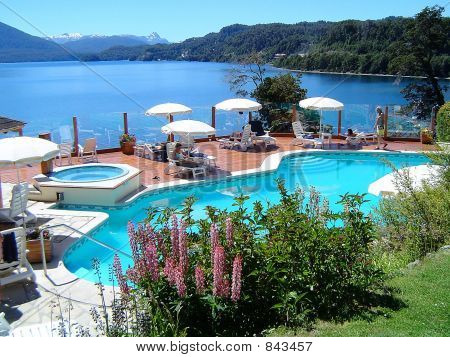 Swiming pool by the nahuel huapi lake