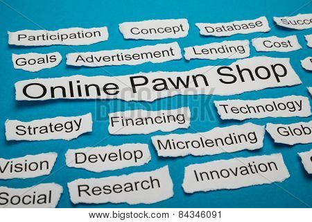 Online Pawn Shop Text On Piece Of Torn Paper