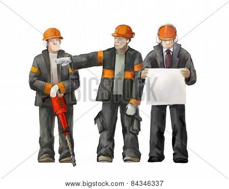 Jackhammer, electrician and project manager
