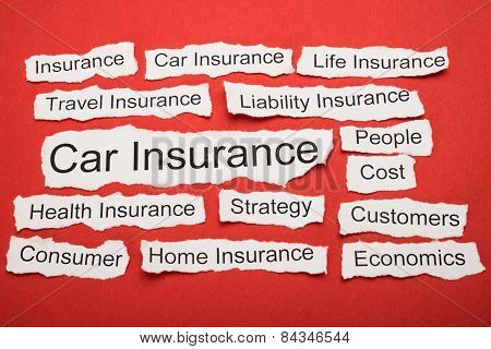 Car Insurance Text On Piece Of Torn Paper