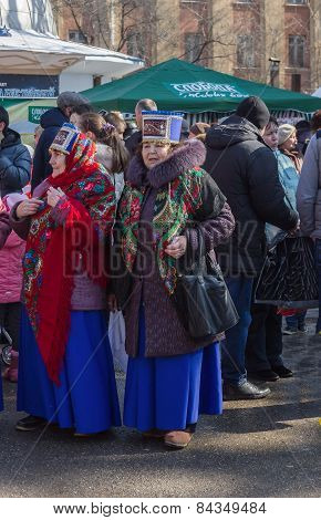 Elderly Ladies In Folk Costumes.