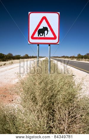 A caution Elephants sign in Damaraland, Namibia