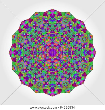 Abstract Flower. Creative Colorful Style Vector Wheel. Abstract Colorful Circle Backdrop. Geometric