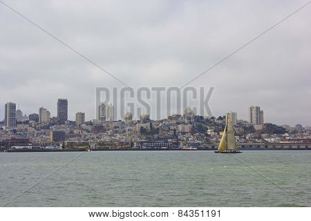 Sailing In San Francisco. Sailing Boat On The Pacific Ocean