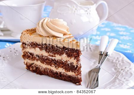 Brown Cake With Cream