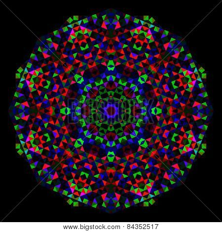 Abstract Flower. Creative Colorful Style Vector Wheel. Red Green Blue Black Dominant Color