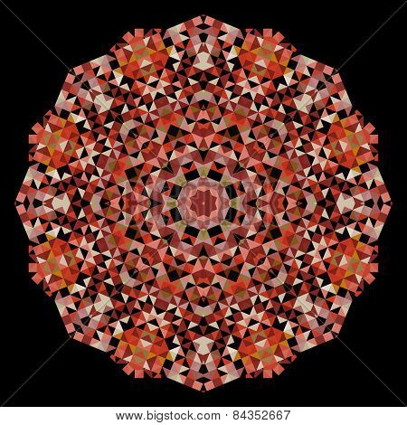 Abstract Flower. Creative Colorful Style Vector Wheel. Brown Red Black Dominant Color