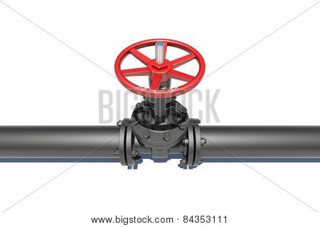 Black pipe with valve