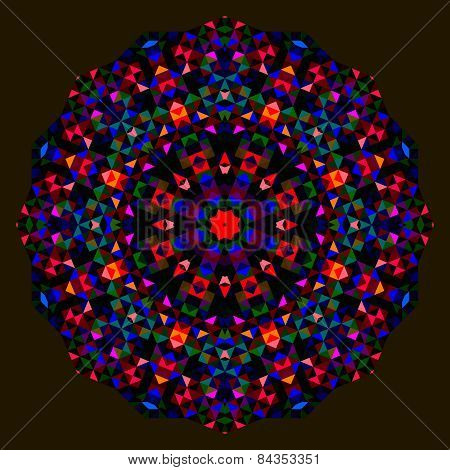 Abstract Flower. Red Blue Green Black Dominant Color