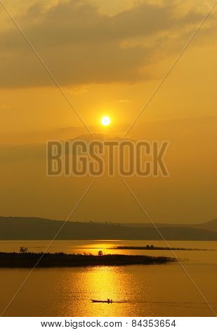 Vietnamese Rural, Lake  At Sunset