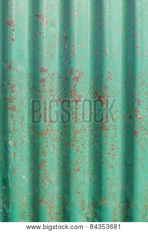 Old Rusty Green Corrugated Metal Wall