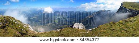 Summer Panorama Of Austrian Alps, Mountain Range