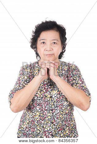 Old Wrinkle Hands, Senior Folded Hands Together