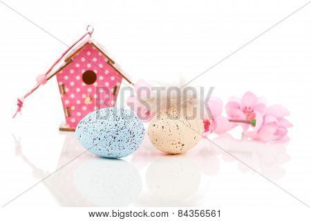 Easter Eggs With Birdhouse