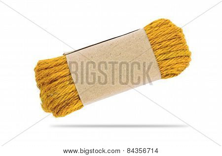 Yellow Hemp Rope Isolated On White
