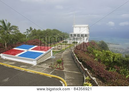 Exterior of the upper air tram station at the top of Pico Isabel de Torres in P