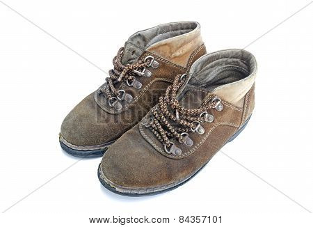 Old Work Boots Isolated On White