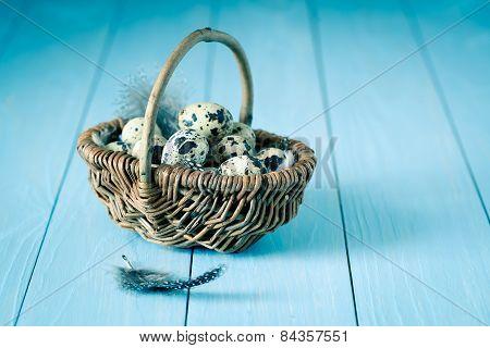 Quail Eggs In A Wicker Basket