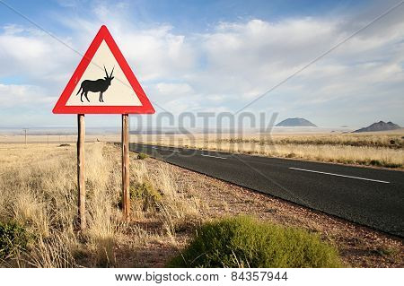 Sign warning drivers that Oryx are present on the road.