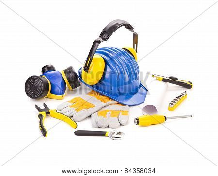 isolated hard hat with tools