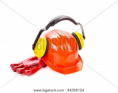 Red hard head gloves