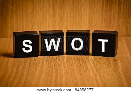 Swot Word On Black Block