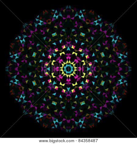 Abstract Flower. Creative Colorful Style Vector Wheel. Cyan Emerald Magenta Yellow Black Dominant Co