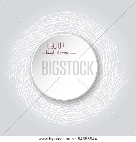 White Paper Sticker Vector Frame. Grunge Retro Background. Vintage Abstract Hand Drawn Lightl Round