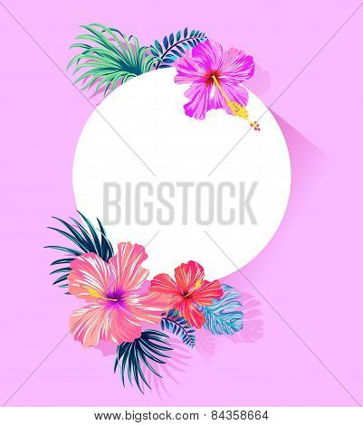vector tropical card with hibiscus